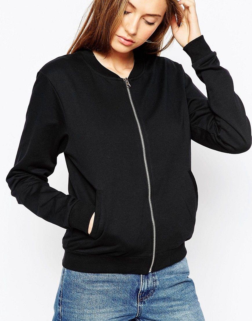 Asos The Bomber Jacket In Jersey At Asos Com Jackets Womens Black Jacket Basic Jackets [ 1110 x 870 Pixel ]