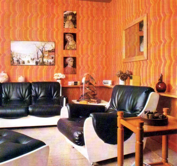 70s Living Room | Retro 70s Living Room Wallpaper Striped Orange Yellow  Vintage