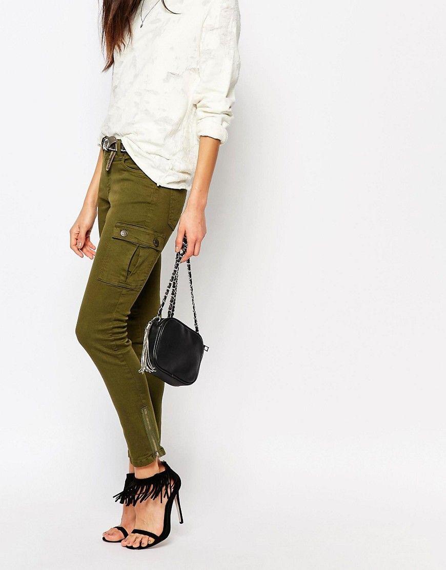 Northmore - Pantaloni cargo skinny con zip a vista alla caviglia  #CARGO #PANTS #GREEN #KAKI #MILITARY