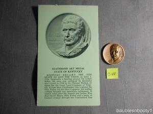"Medallic Art Statehood KENTUCKY 1968 Bronze Medal DANIEL BOONE 1.25"" Circulated C-48"