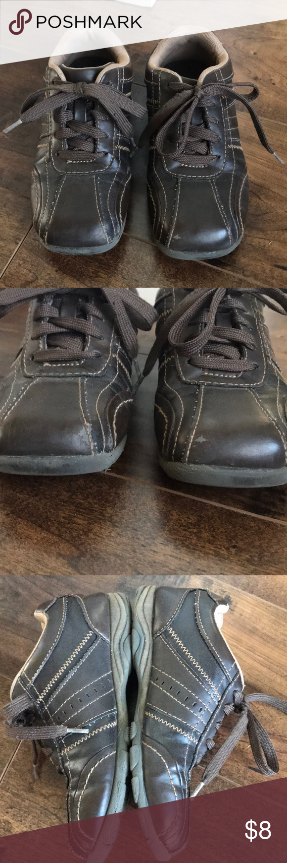 f48c12ab13 Boys brown lace-up shoes Good used condition. Minor scuffing at toes. One  shoe lace is a little rough on edge but still very usable.