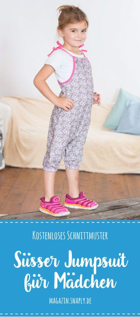 Kostenloses Schnittmuster: Süßer Jumpsuit für Mädchen | Snaply ...