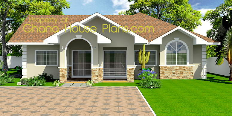 Tiny House Plans | Ghana Homes 3 Bedroom Single Storey Family House Plan