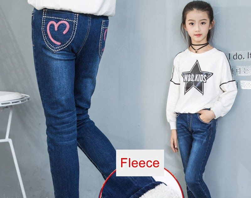 ffdba61b2ece Big SALE Fleece Jeans for Girls Winter Children Clothes 2018 Teenage Cotton  Thick Warm Cowboy Leggings