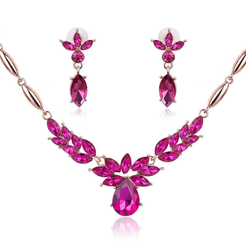 Fashion women crystal flower teardrop wedding necklace statement