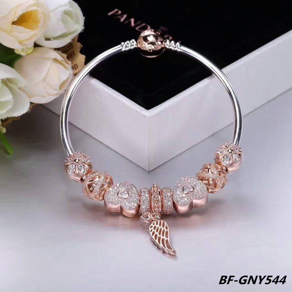Golden flower pandora charm bracelet