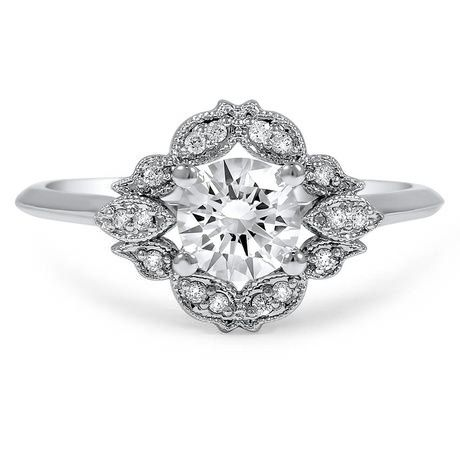 Embellished Halo Diamond Ring, top view
