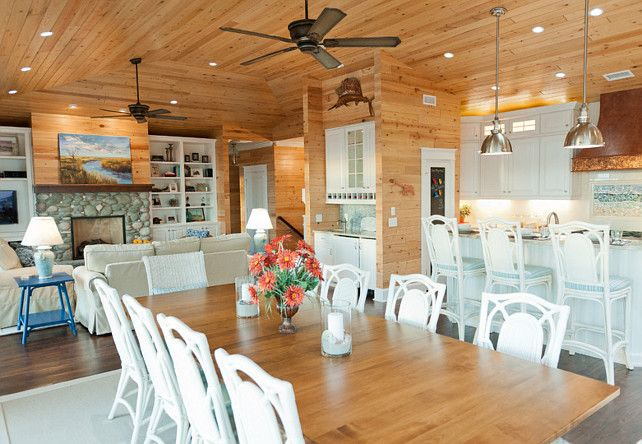 Open Floor Plan Kitchen Dining Living Room beach house with casual coastal interiors: open floor plan