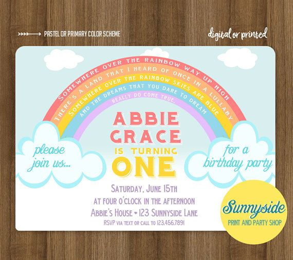 Rainbow Birthday Party Invitation For Boy Or Girl 1st First Invite Printable