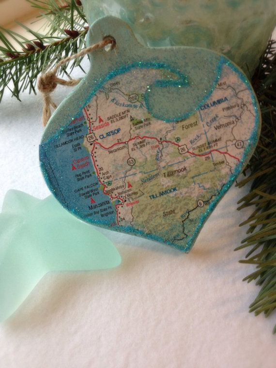 Ocean Wave Pacific Northwest Oregon Beaches Map Christmas Etsy Christmas Ornaments Map Crafts Nautical Christmas