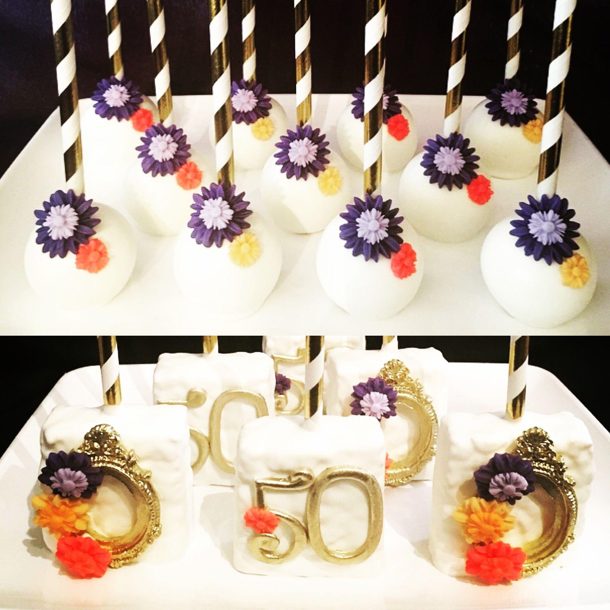 Remarkable Floral 50Th Birthday Treats 50Th Birthday Cake Pops Floral Cake Funny Birthday Cards Online Inifodamsfinfo