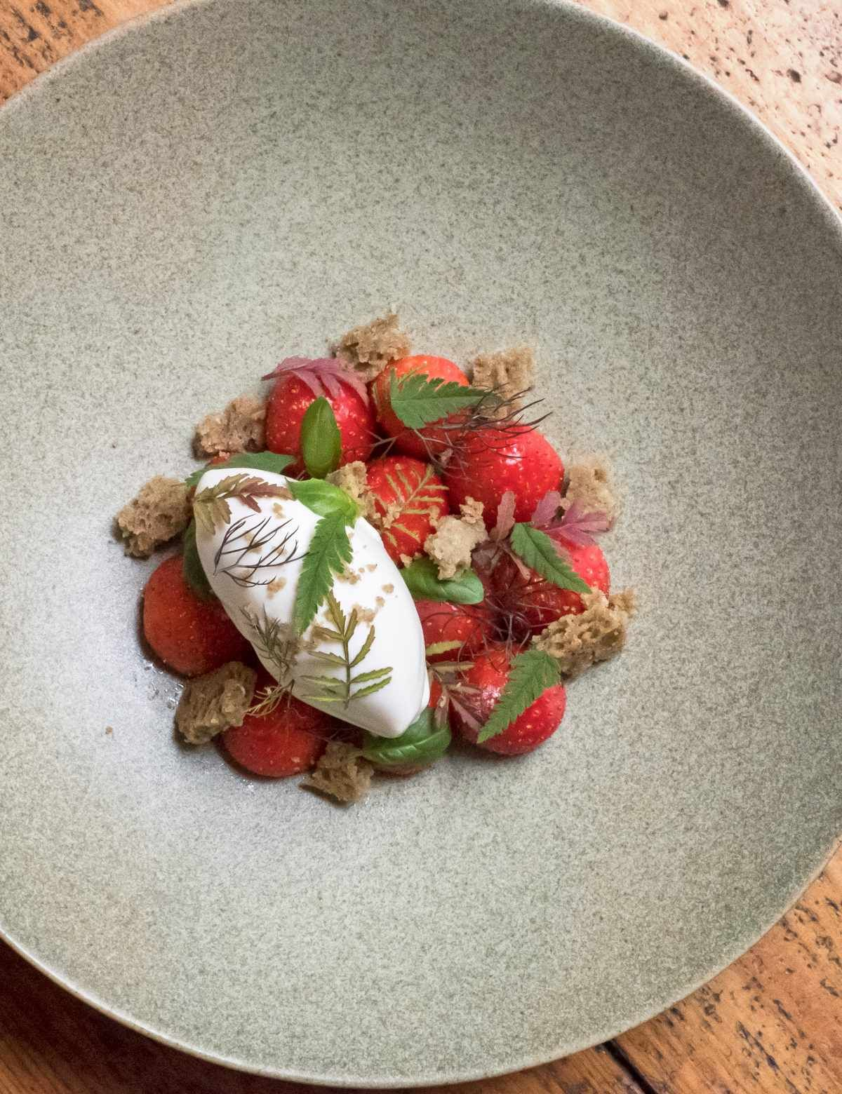Tommy Banks' strawberries with herbs and hay Recipe in