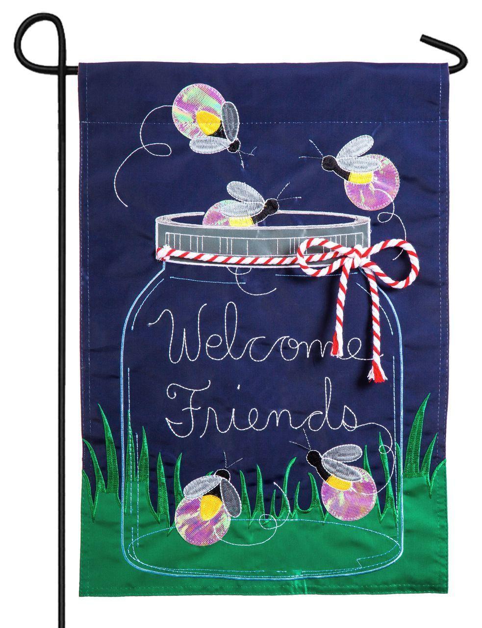 mason jar and fireflies welcome friends applique garden flag