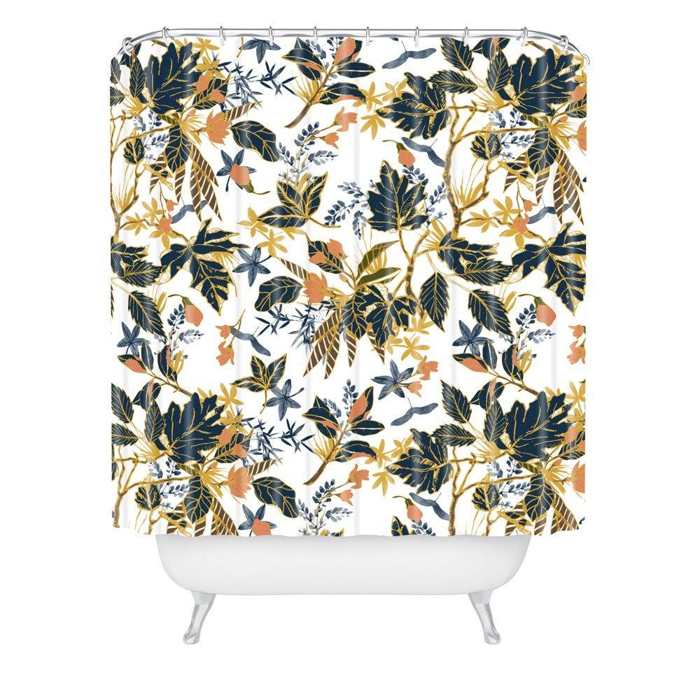 Autumnal Nature I Shower Curtain Blue Deny Designs Gender Unisex Age Group Adult Pattern Leaf Autumnal Nature I Shower Curtain Blue Bath In 2019
