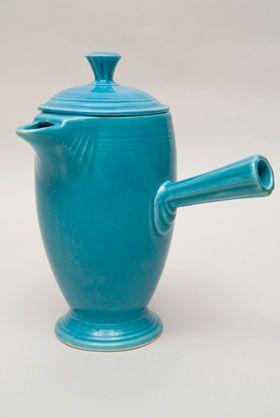 Vintage Fiestaware Original Turquoise Demitasse Coffeepot A D Stick Handle Rare Pottery For Sale Fiestaware