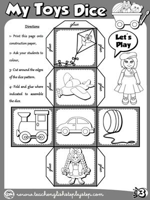 My Toys Dice 2 B W Version English Activities For Kids Teaching English English Activities My toys worksheet for kindergarten