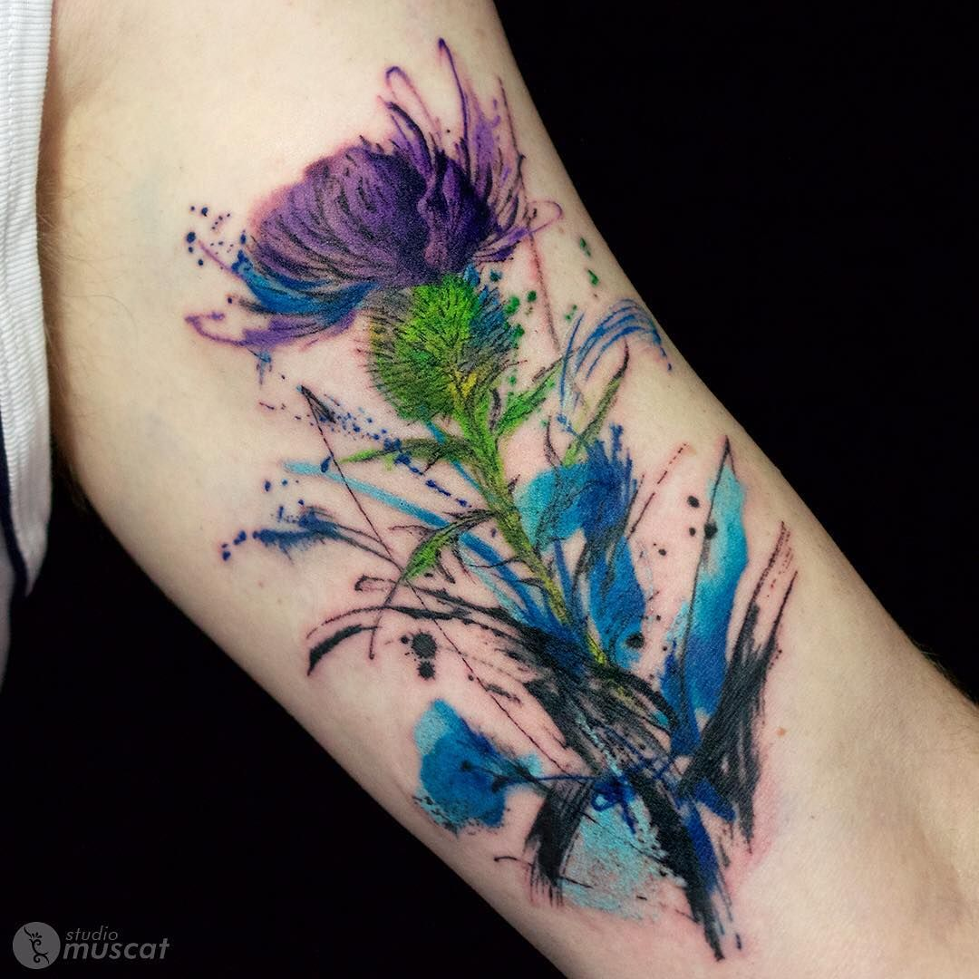Scottish Thistle Tattoo Ideas: By Haruka. Love . Love The Watercolor Style Tattoos