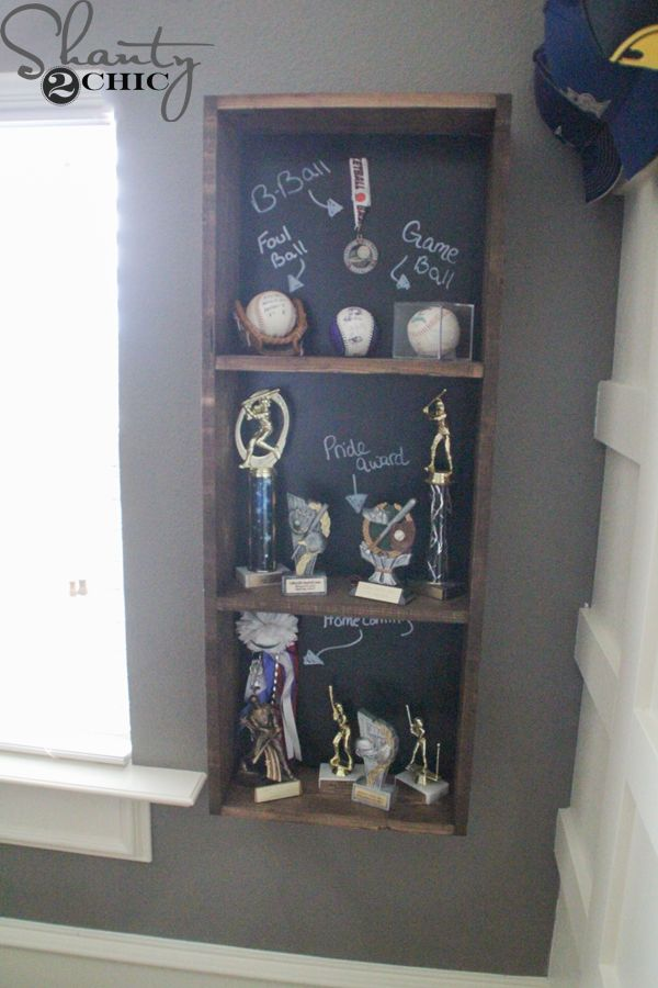 DIY Trophy Case With Chalkboard Backing You Can Write Messages Or Makes Notes For Each