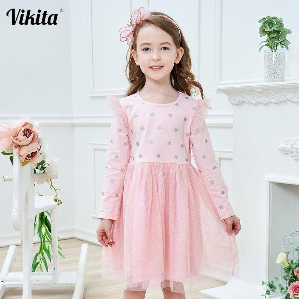VIKITA Brand New Children Princess Dress Girls Star Tutu Dresses Baby Girl Long Sleeve Clothes Kids Party Dresses for Girls #babygirlpartydresses