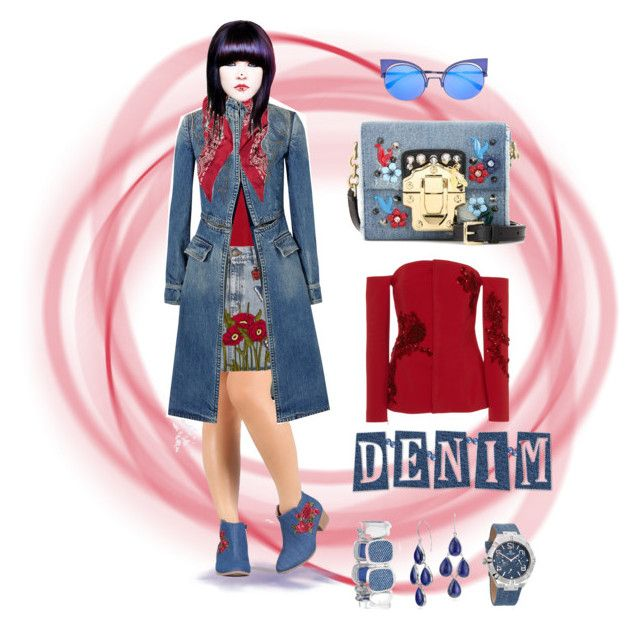 """Denim & Scarlet Style"" by pillowy-artiste on Polyvore featuring Alexander McQueen, Carla Zampatti, Dolce&Gabbana, Gucci, Yves Saint Laurent, Chico's, Blue Nile and Fendi"