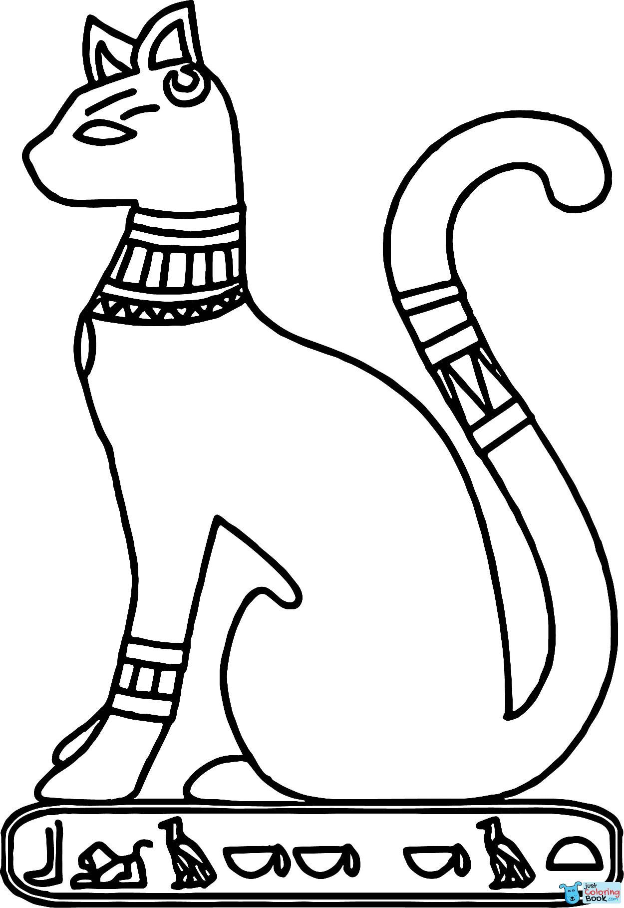 Ancient Egypt Cat Coloring Page Egypt Crafts Egyptian Cats