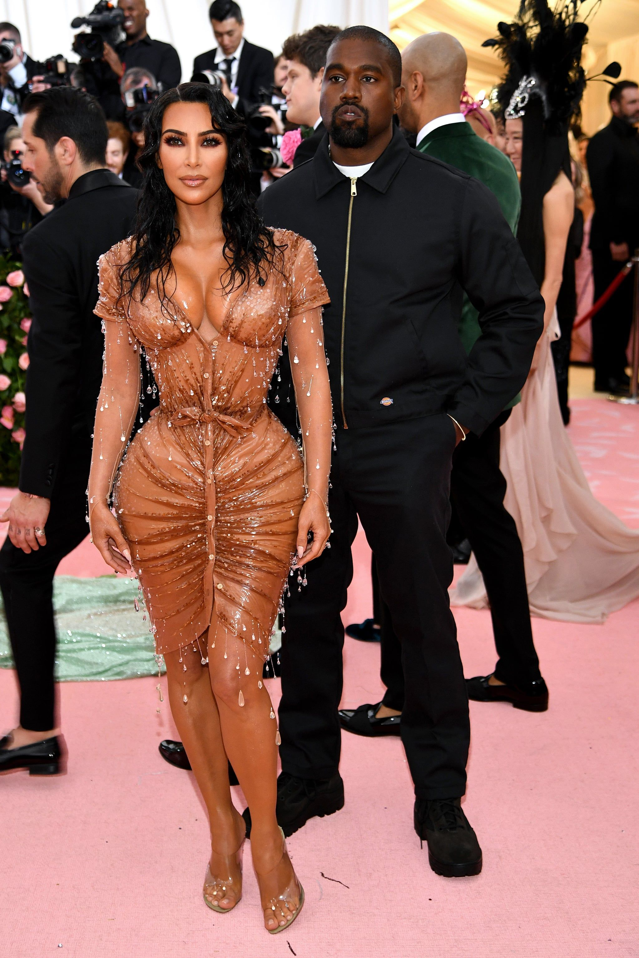 Kim Kardashian Is Quite Literally Dripping In Crystals In Her Bodycon Met Gala Dress Kim Kardashian Wedding Dress Kanye Kim Kardashian Wedding Kim Kardashian Wedding Dress