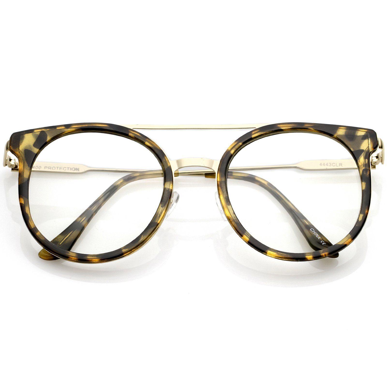 000f55e0b24 Horn Rimmed Double Nose Bridge Clear Lens P3 Round Eyeglasses 50mm ...