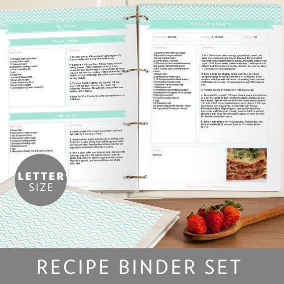 Chevron Printable And Editable Recipe Binder Set In Mint