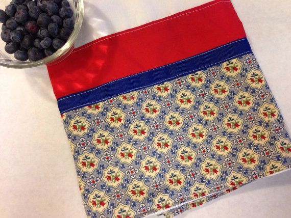 Red Navy Towel (flour sack, hand, kitchen towel), housewarming or birthday gift, cottage chic in red and navy blue print on Etsy, $12.00