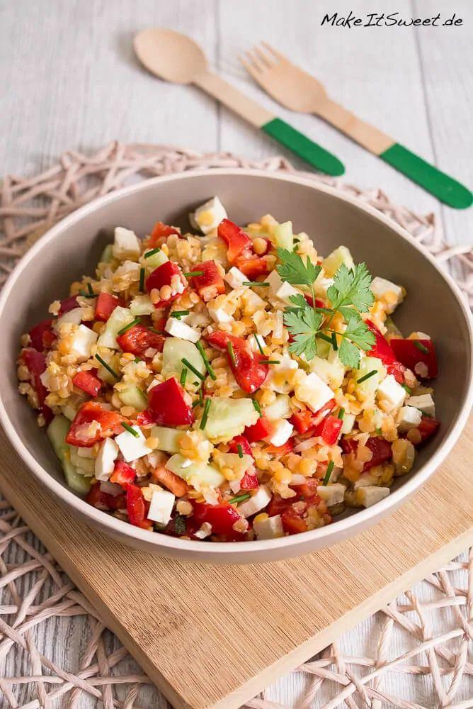 Linsensalat mit Paprika und Feta Rezept - MakeItSw