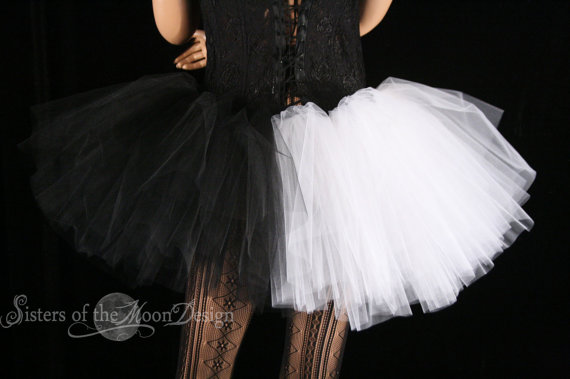 Ying Yang adult tutu mini micro black white skirt Adult halloween costume dance