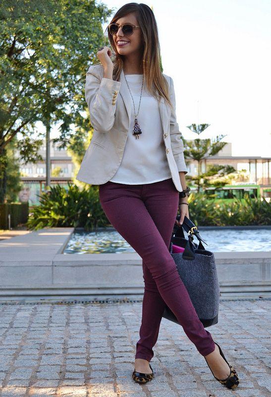9761ced3b7f Love the Maroon Jeans   the Tan Blazer