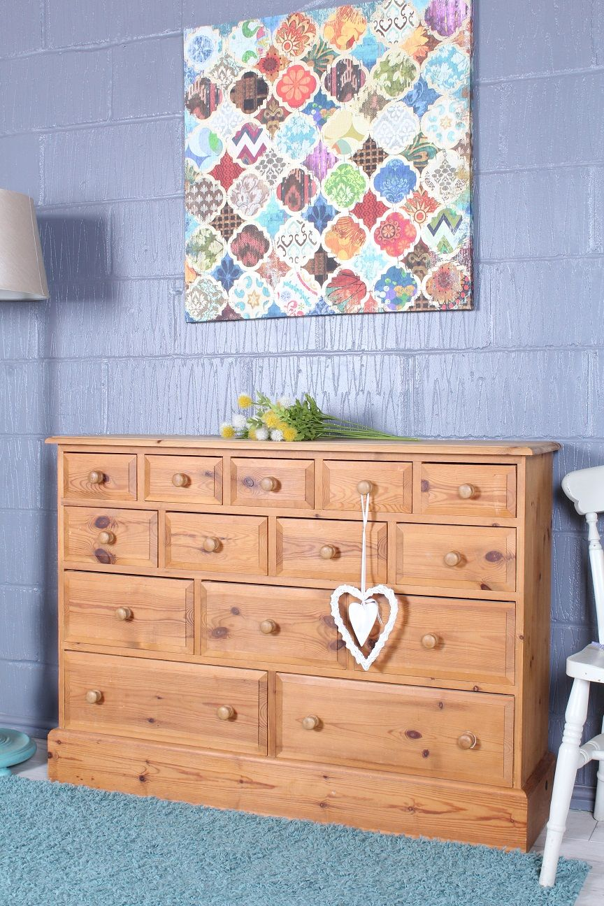 299 Solid Pine 14 Drawer Merchants Chest Waxed Finish All Tongue Groove Free Local Delivery See Website Http Pine Furniture Furniture Solid Pine