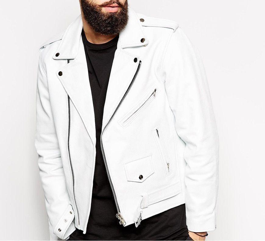 Slim Fit Biker Lambskin White Leather Jacket Jaqueta Vestuario Trajes