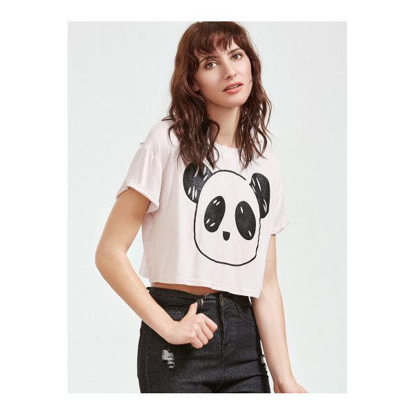 SheIn(sheinside) White Panda Print Crop T-shirt ($9) ❤ liked on Polyvore featuring tops, t-shirts, white, white crop tee, crew neck t shirt, crop t shirt, crop tee and crop top