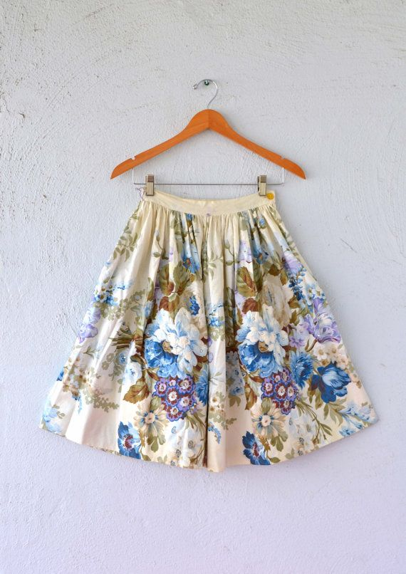 50s Circle Skirt with Rhinestones // Floral by ChicVintageHawaii, $48.00