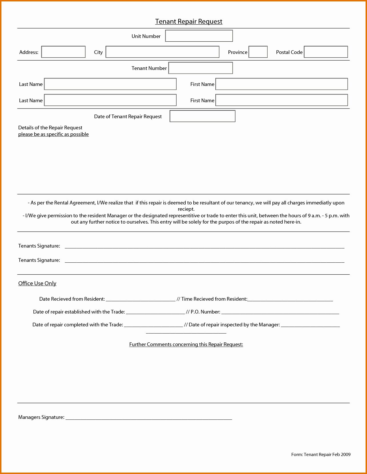 Tenant Maintenance Request Form Template Awesome Maintenance Request Form Template Templates Marketing Plan Template Standard Operating Procedure Template Maintenance service request form template