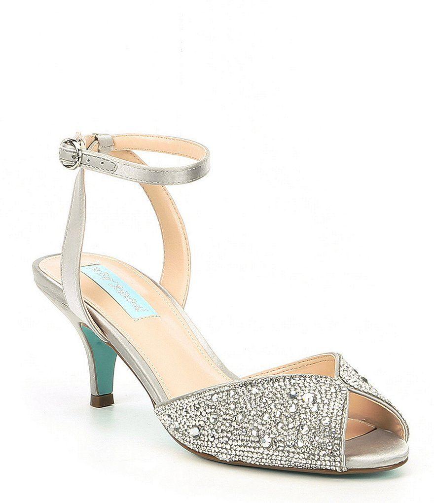 b933a612824f8 Blue by Betsey Johnson Royal Rhinestone Kitten Heel Dress Sandals ...