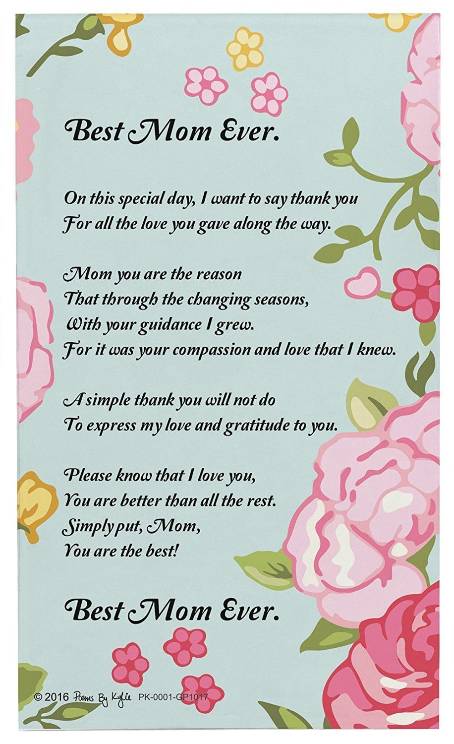 Mom Gifts For Christmas Best Mom Ever Mom Poem Decorative ...