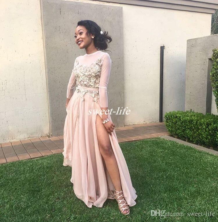 Modest Long Sleeve Prom Dresses Blush Chiffon 3D-Appliqued High Neck Floor Length 2017 Arabic Side Split Evening Gowns Occasion Party Dress Prom Dresses Long Sleeve Evening Dresses Online with 135.0/Piece on Sweet-life's Store   DHgate.com