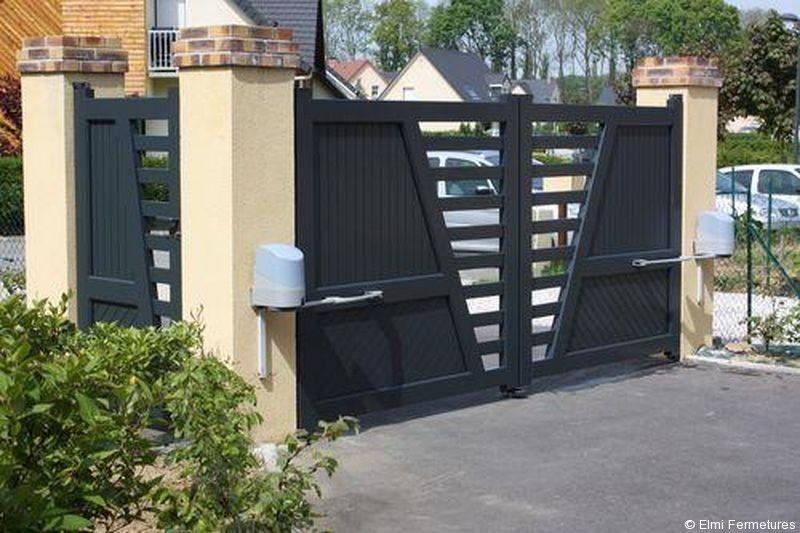 Portail electrique maison porte d 39 entr e de garage en 2019 pinterest portail portail for Portail electrique