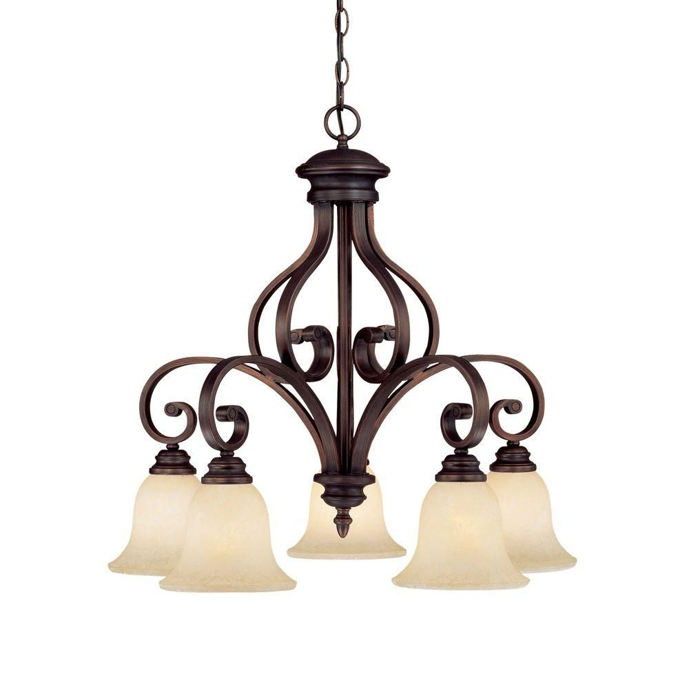 Millennium Lighting 5 Light Rubbed Bronze Chandelier With Turinian