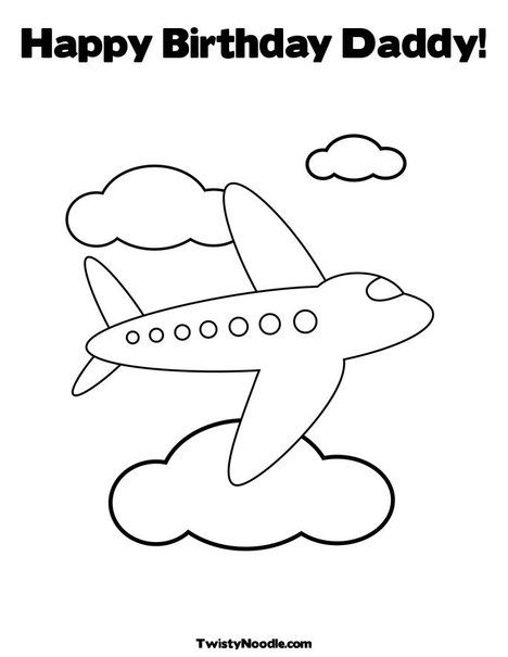 Happy Birthday Daddy Coloring Page Preschool PagesAirplane