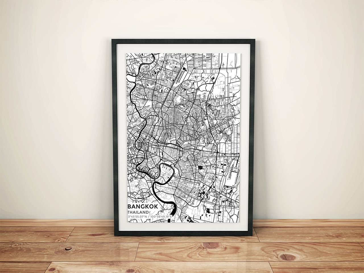 Maryland Map Coordinates%0A Premium Map Poster of Bangkok Thailand  Subtle Black Ink  Unframed