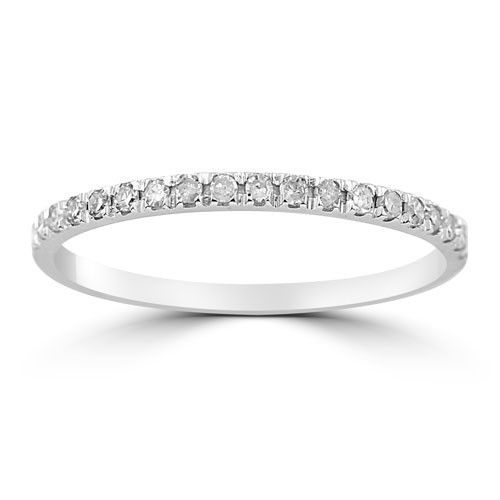 14k White Solid Gold Womens Small Diamond Petite Pave Wedding Band 0 20 Ctw Womens Wedding Bands Diamond Pave Wedding Bands Pave Diamond Band