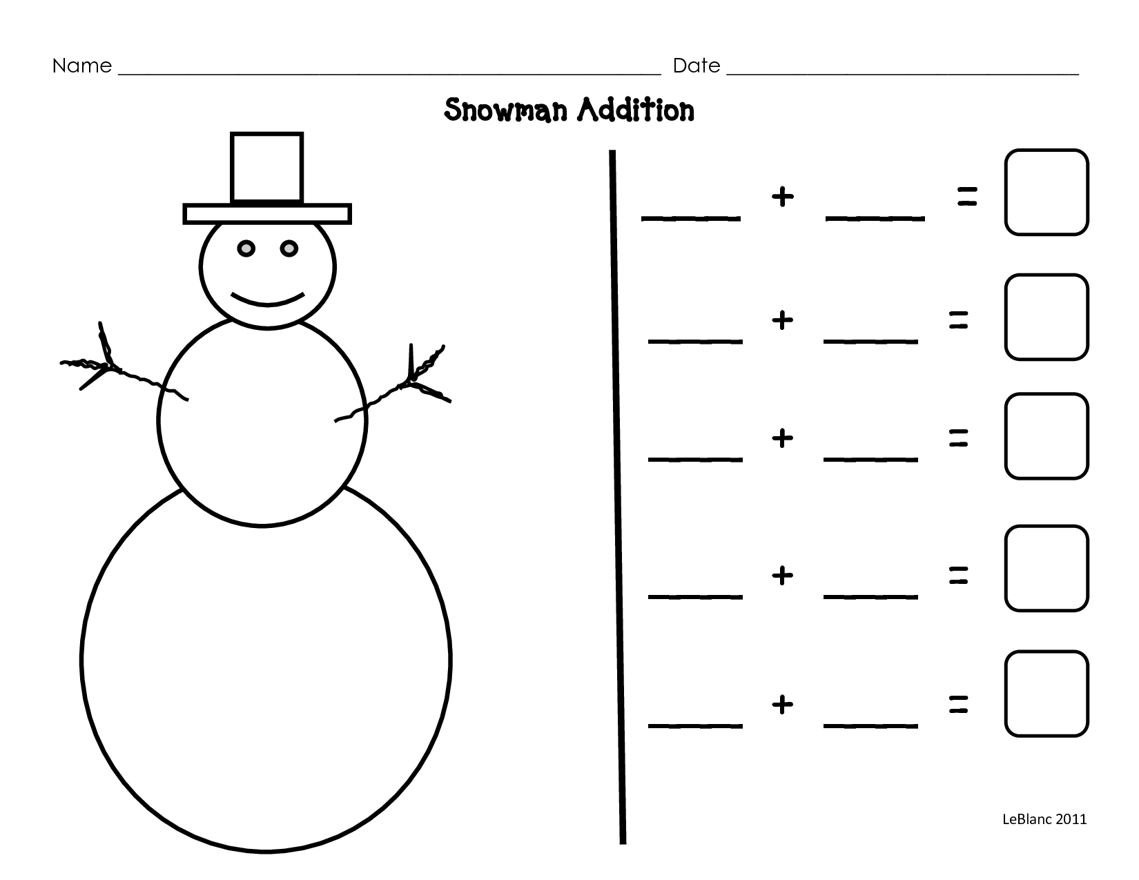 Snowman Preschool Subtraction Worksheet
