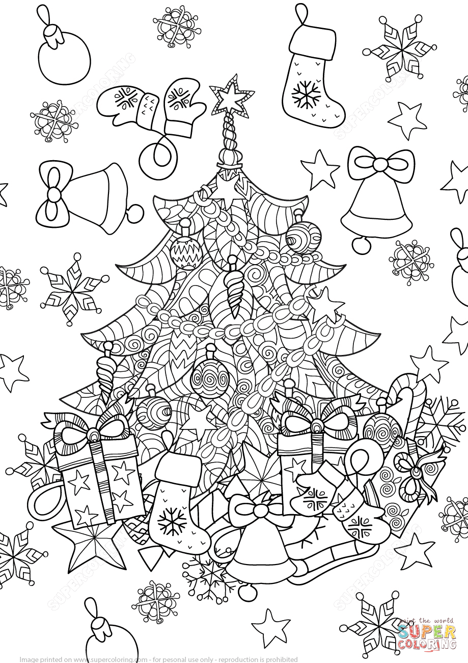 christmas tree zentangle super coloring coloring books adult coloring pages free printable coloring