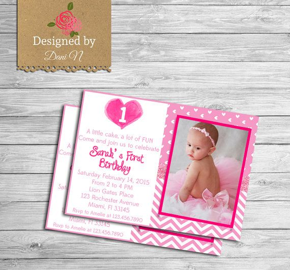 Girl Birthday pink heart invitation, valentines birthday, valentines - invitation for 1st birthday party girl