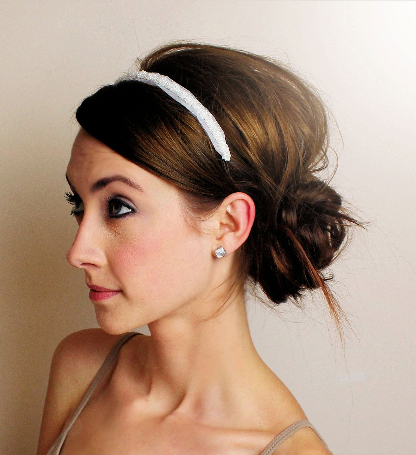 Wedding Hairstyle Simple: Bridal Headband - Pearl Beading And Tulle - SALE