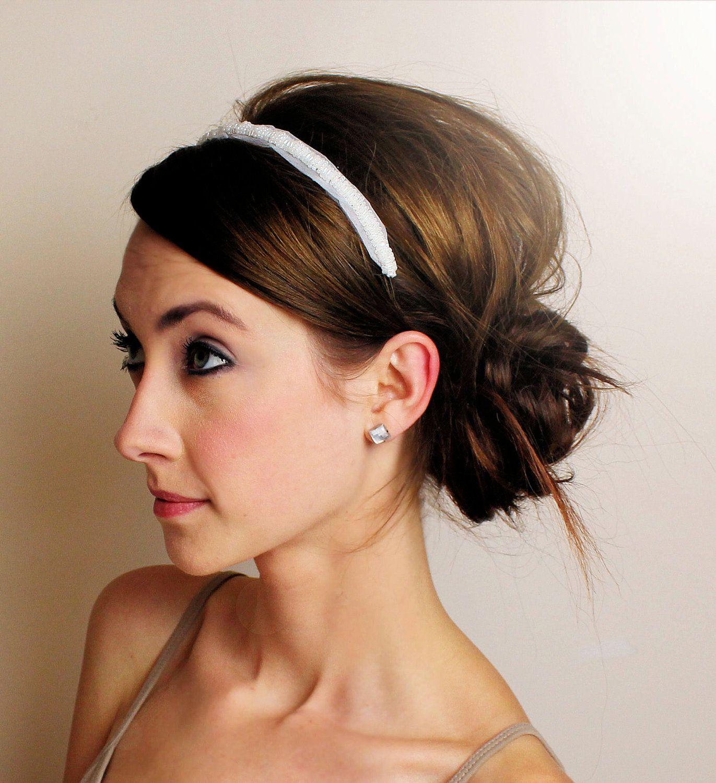 Wedding Hairstyles Headband: Bridal Headband - Pearl Beading And Tulle - SALE